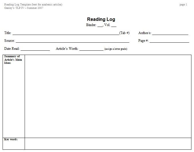 summer reading log template