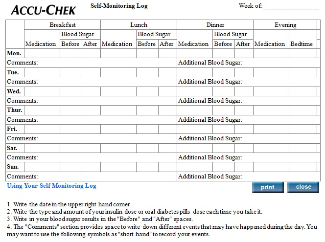 self monitoring blood sugar log template