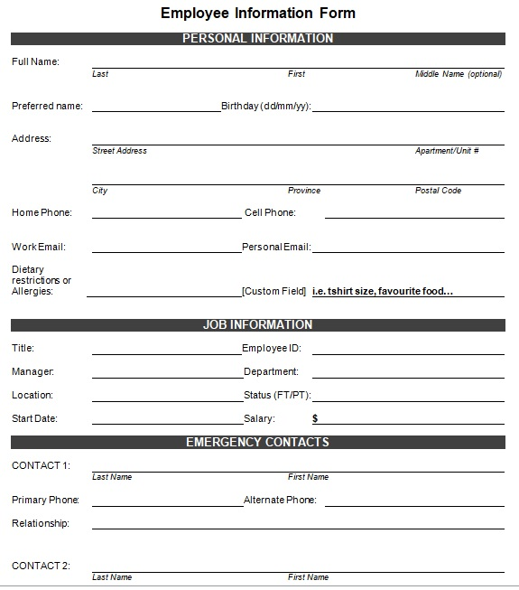 employees record form