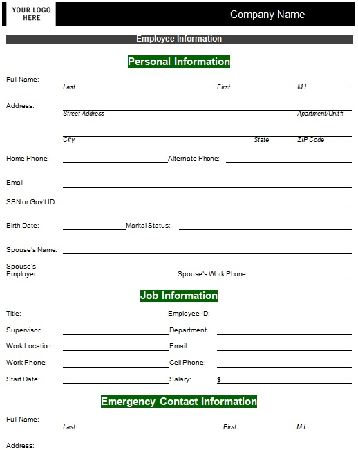 printable personal information sheet