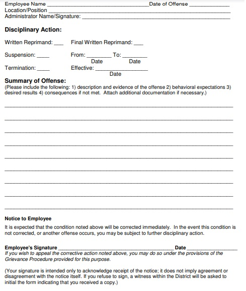 disciplinary forms for employees free