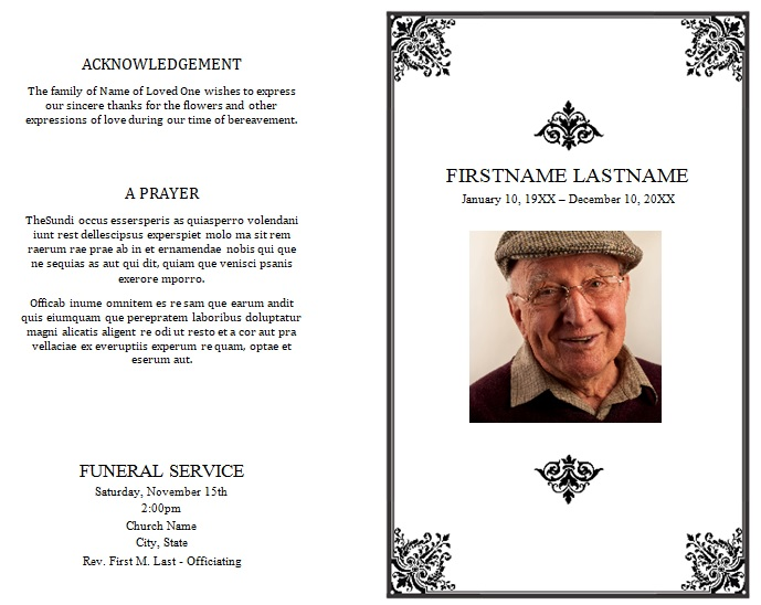 sample funeral program order of service