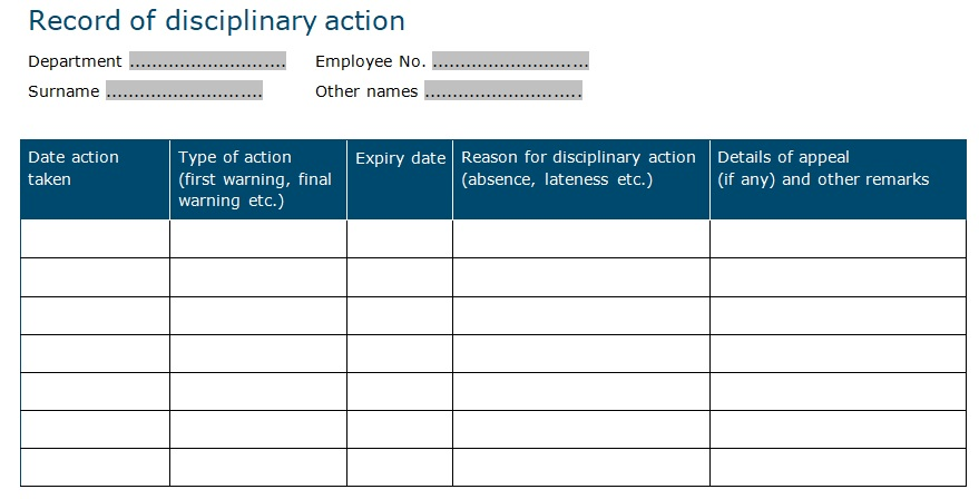 record of disciplinary action template