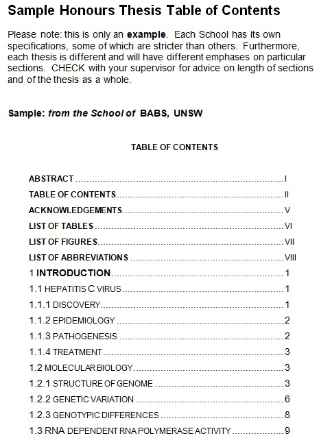 sample honours thesis table of contents