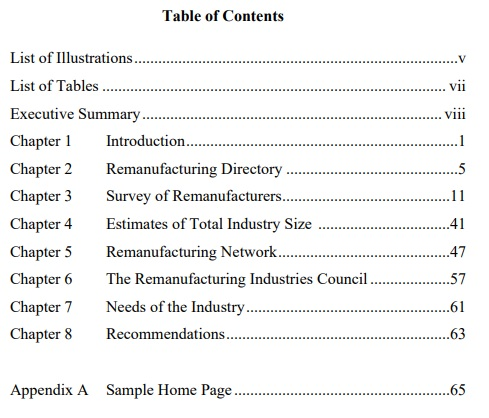 table of contents printable