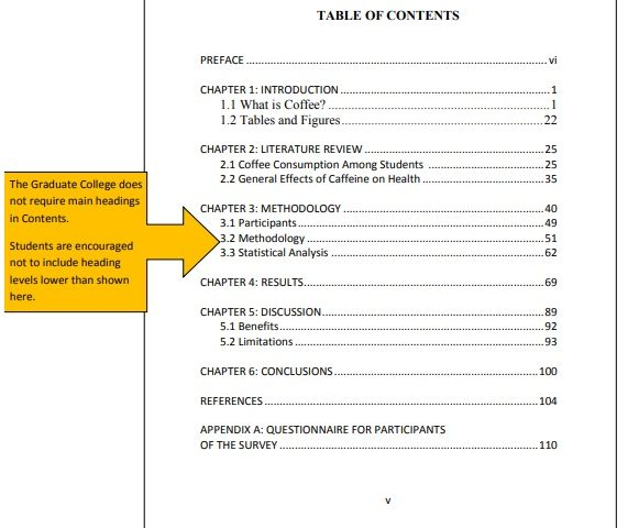 sample word document with table of contents