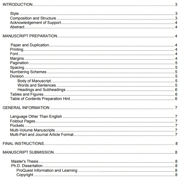 free table of contents template download