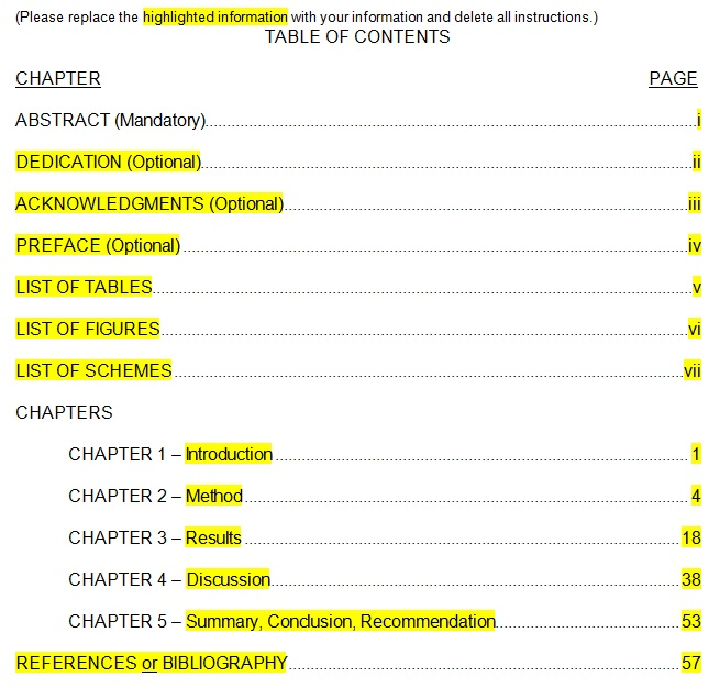 office table of contents template