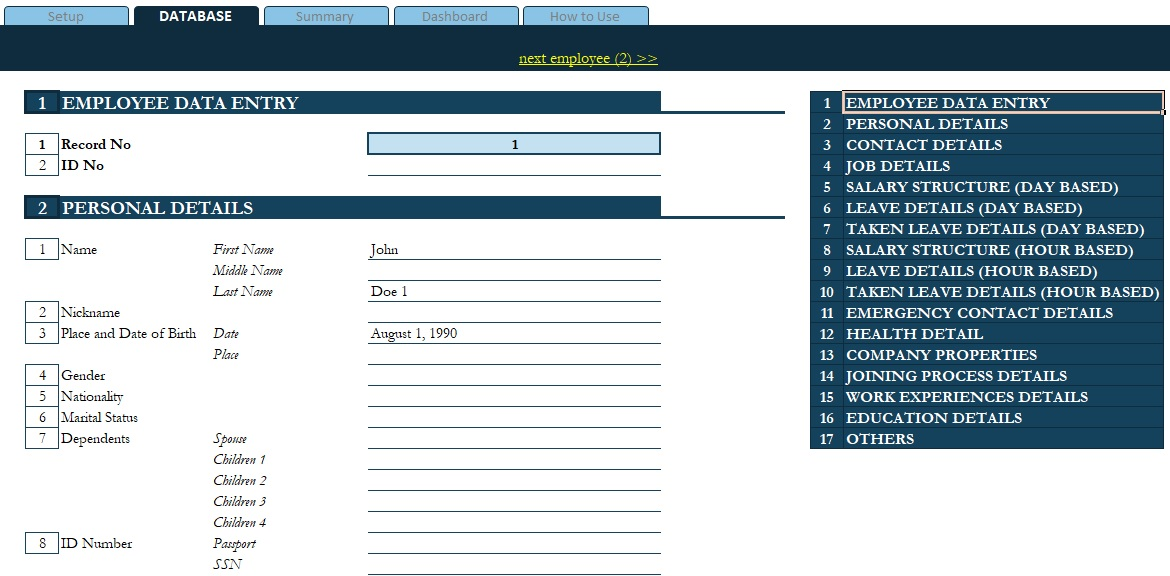 access employee database template