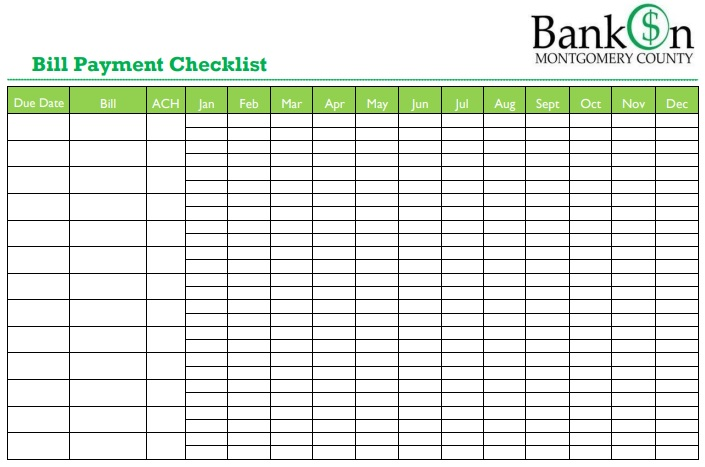 printable bill payment checklist