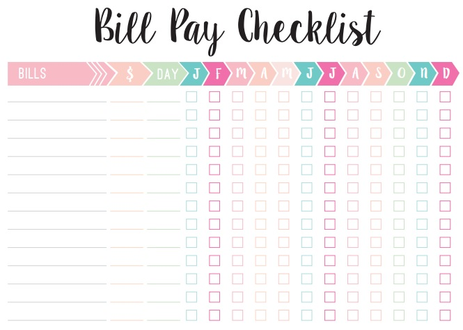 fillable bill payment checklist