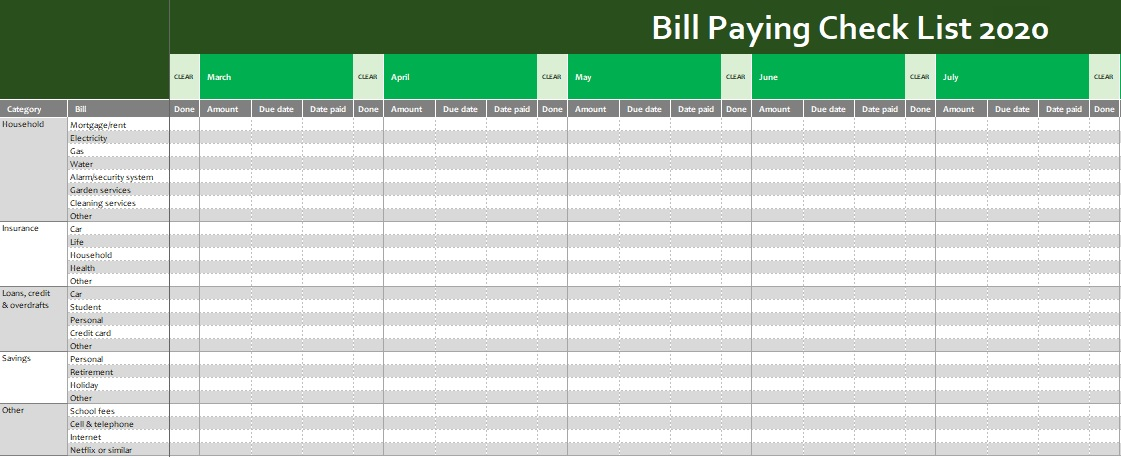 bill pay checklist template
