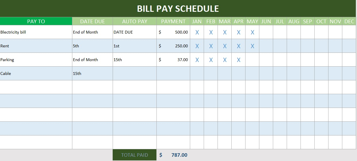 bill pay schedule template