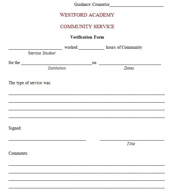 community service letter template word