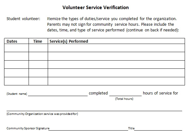 free community service letter template