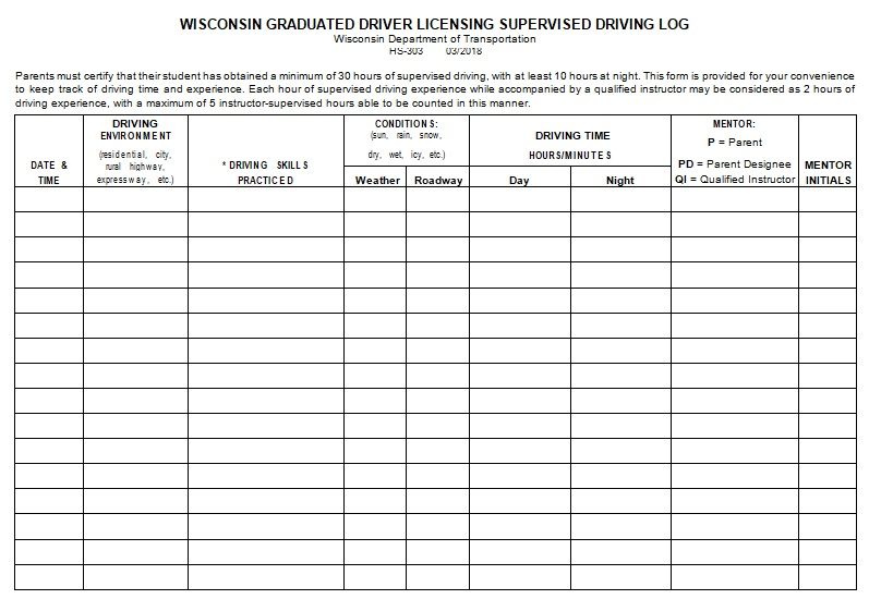 free printable driver's daily log sheet