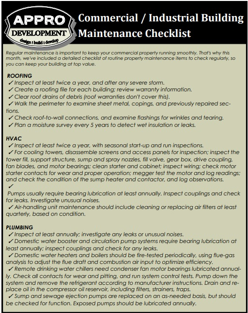 industrial building maintenance checklist template