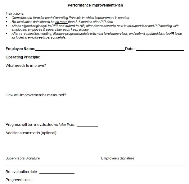 free performance improvement plan template download