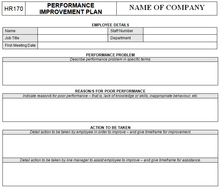 fillable performance improvement plan template