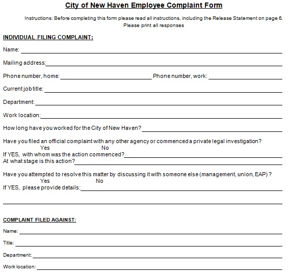 free complaint form template word