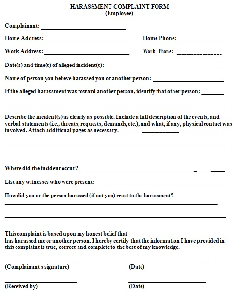 free employee complaint form