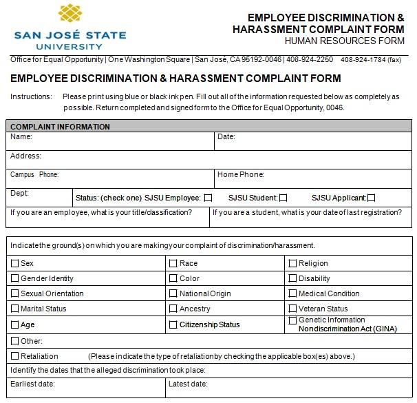 hr complaint form template