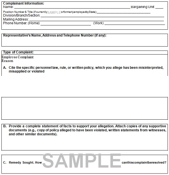 employee grievance form example