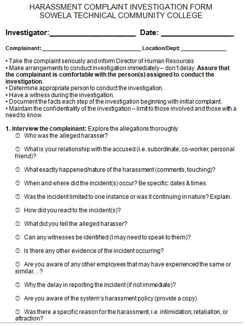 employee concern form