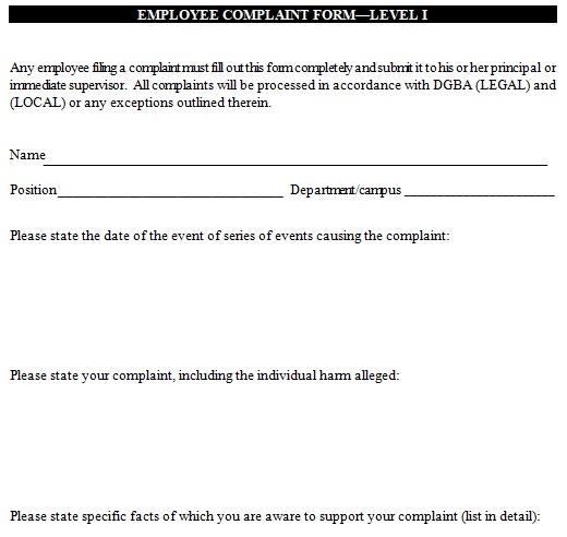editable employee complaint form