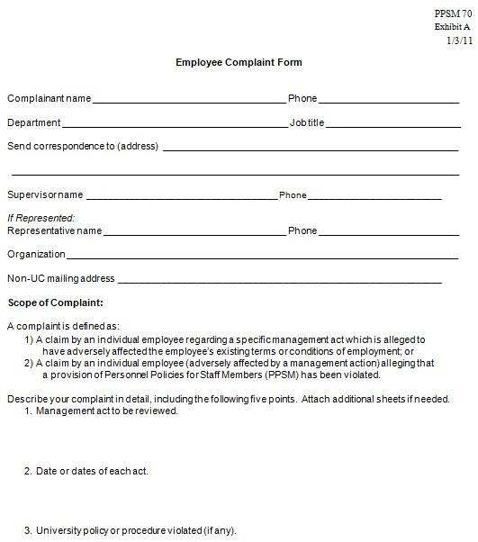 free editable employee complaint form