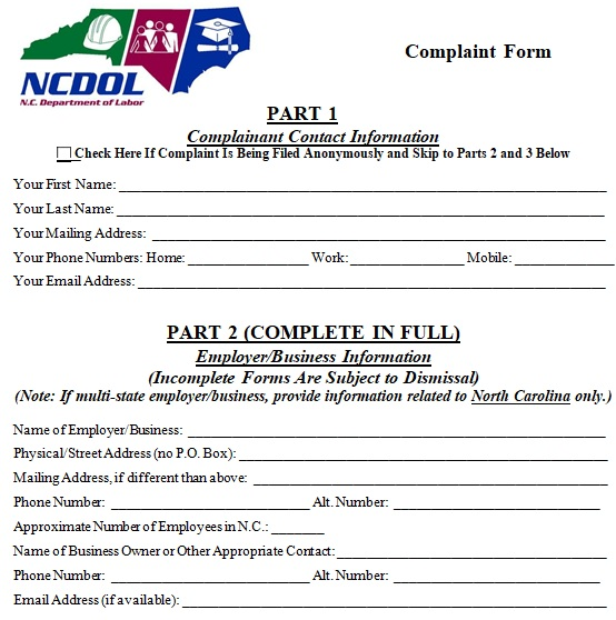 free employee complaint form word
