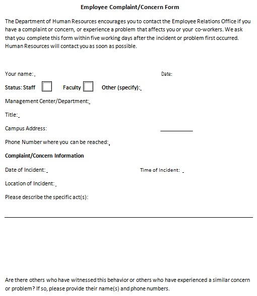 employee complaint form word