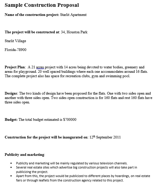 construction bid proposal form template