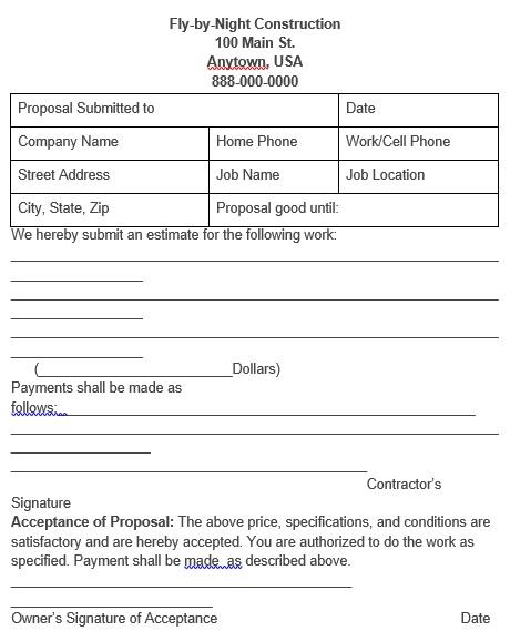 printable construction bid proposal form