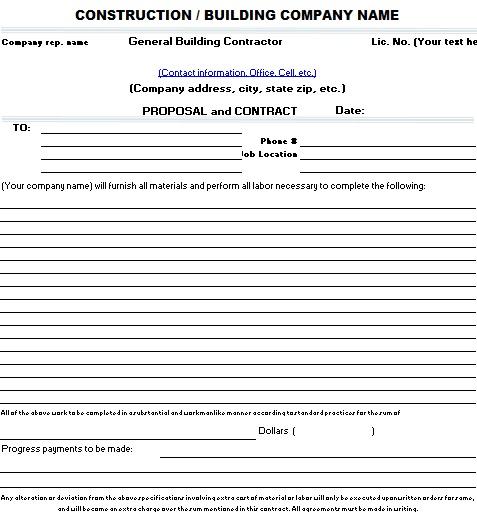 construction bid proposal template excel
