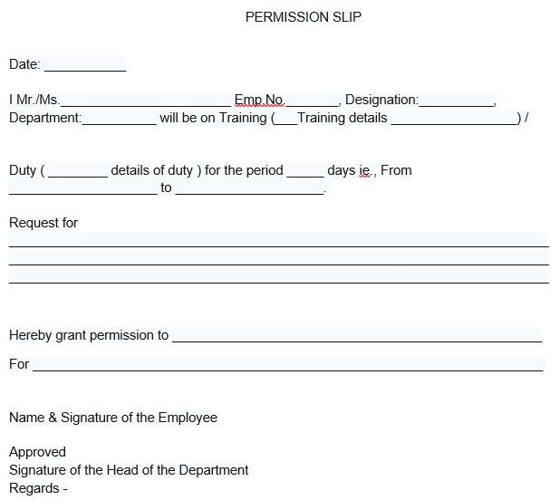 simple permission slip template