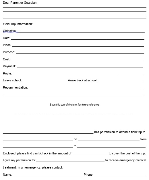 parent permission slip template