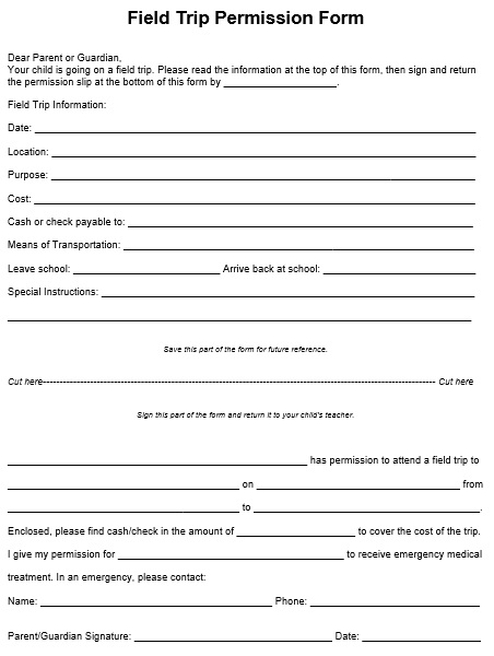 free download field trip permission form