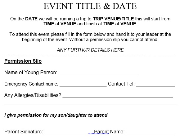 event trip permission slip template