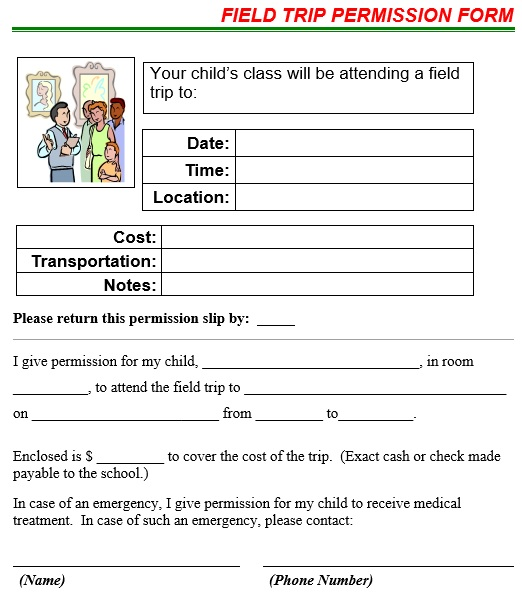 field trip permission form template