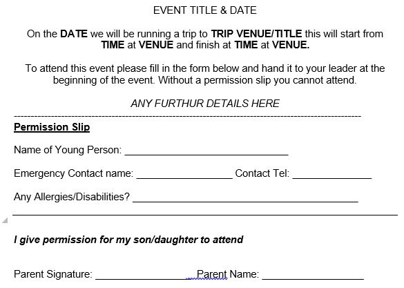 permission slip template