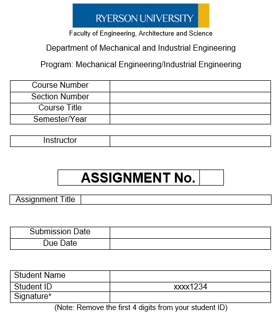 assignment cover page template doc