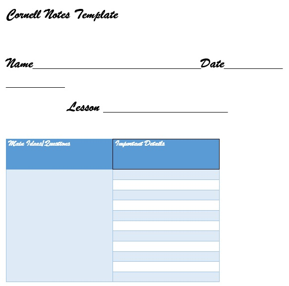 cornell notes template example
