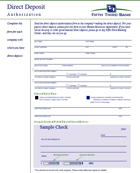 direct deposit authorization form fifth third bank
