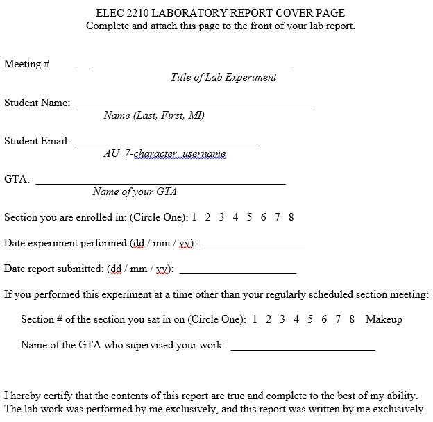 laboratory report cover page template