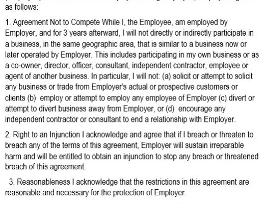 best non compete agreement template