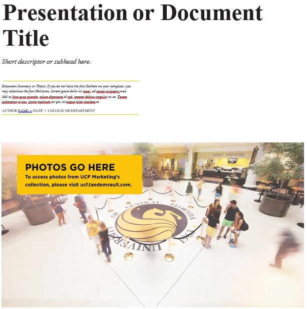 presentation or document title cover page template