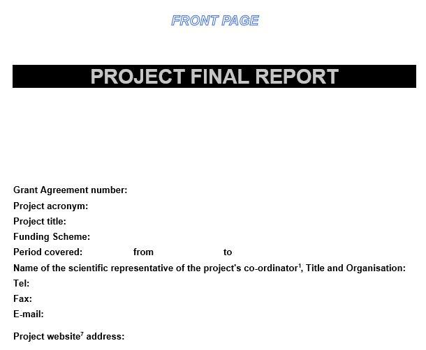project final report cover page template
