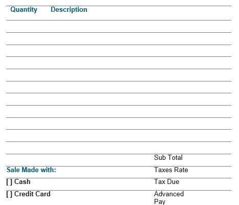 blank sale receipt template
