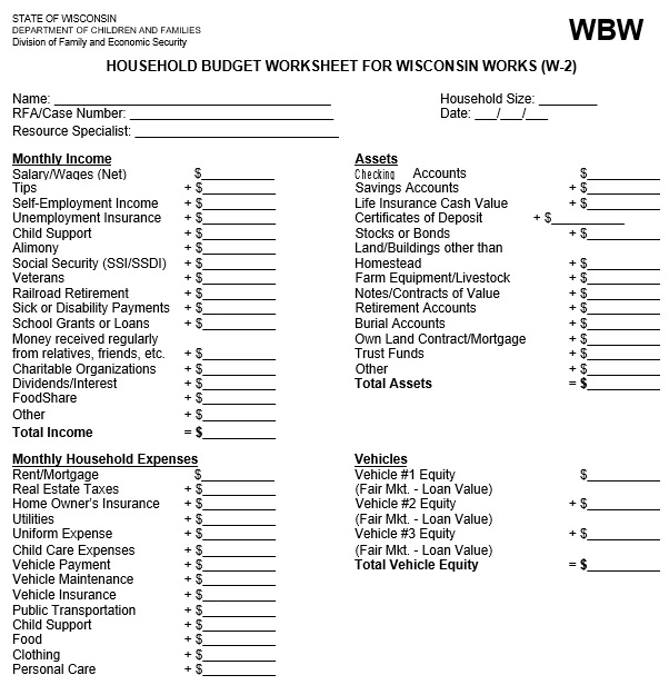 household budget worksheet for wisconsin works